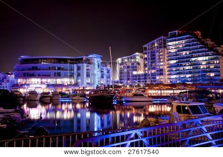 Gibraltar Marina At Night