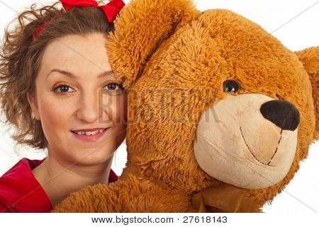 Close Up Of Woman With Teddy Bear