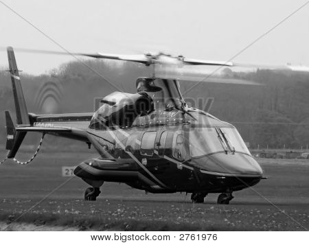 Bell 430 Helicopter Rotors Running