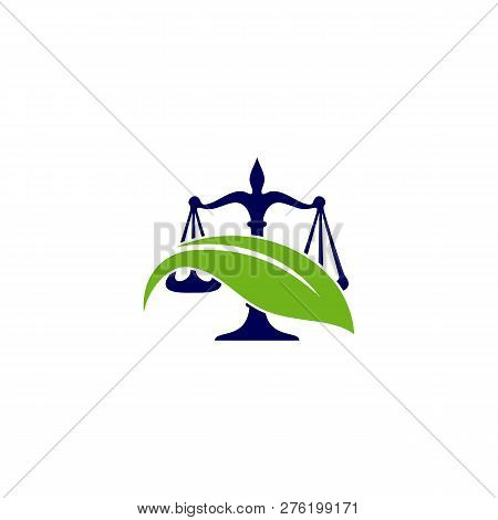Nature Law Firm Logo Design Template  Green Scales Logo Concepts  Law Firm  With Leaf Logo Vector poster