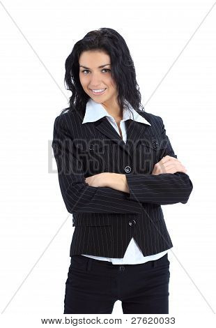 happy young business woman with folded hand