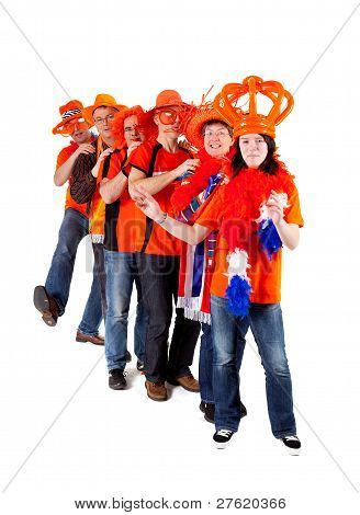 Group Of Dutch Soccer Fans In Polonaise