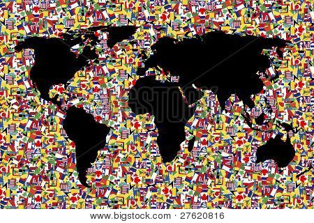 World Map On Background Made Of Flags