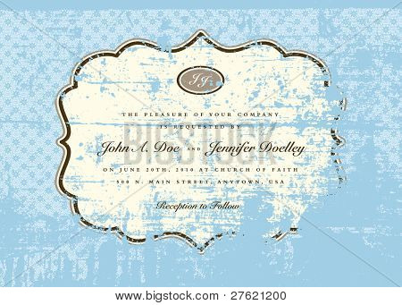 Vector Distressed Blue Pattern and Frame, Perfect for invitations and announcement. Overlay is a separate layer.