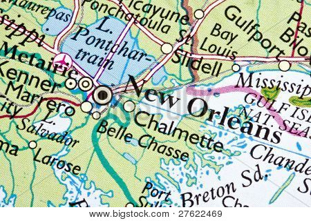 New Orleans on a map