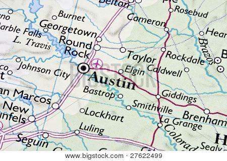 Austin ,Texas on a map