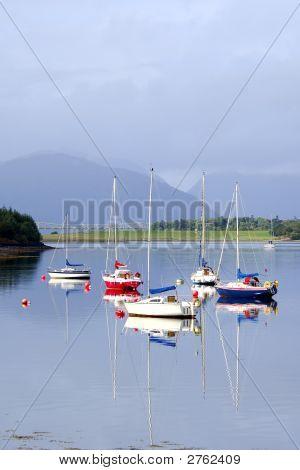 Five Sailing Boats