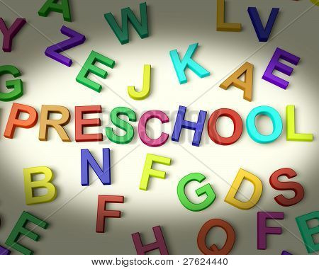 Preschool Written In Multicolored Kids Letters
