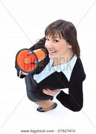 business woman speak in megaphone