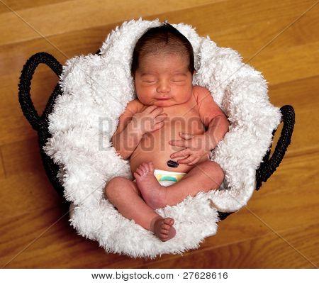 Cute Baby Asleep In Basket