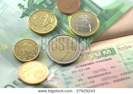 Schengen Visa And Euro Coins For Journey