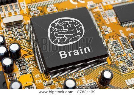 Brain Symbol On Computer Chip