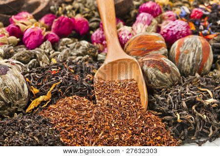 different tea types : green, black, floral , herbal  rooibos  with bamboo spoon