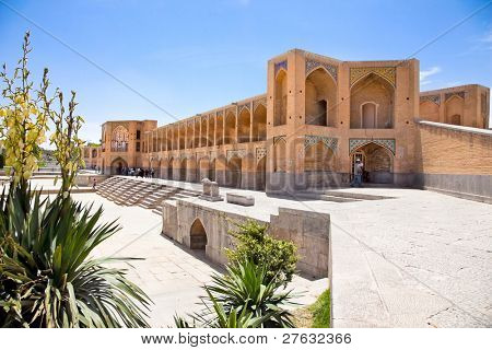Famous historic KHAJOO bridge in Esfahan, Iran