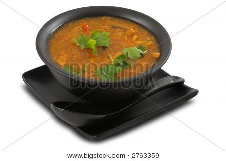 Tasty Vegetable Soup On White, Isolated