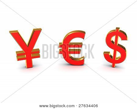The Word Yes Out Of The Euro And The Yen The Dollar. 3D Image