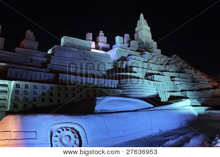 Hollywood scene with ancient car by night made from sand