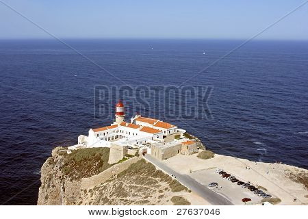 Lighthouse at Cabo Vicente near Sagres in Portugal with skyview