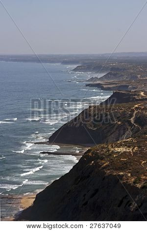Coastline with rocks and ocean in West Portugal with skyview