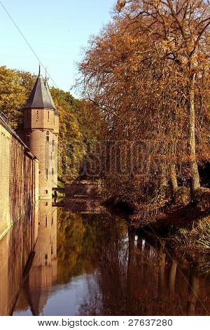 Castle wall and canal from castle 'De Haar' in the Netherlands