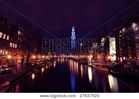 Blue Westerkerk in Amsterdam the Netherlands on the 14th of november 07, during world diabetes day, when many  buildings worldwide were blue lightend.