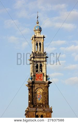 Tower from the Westerkerk in Amsterdam The Netherlands