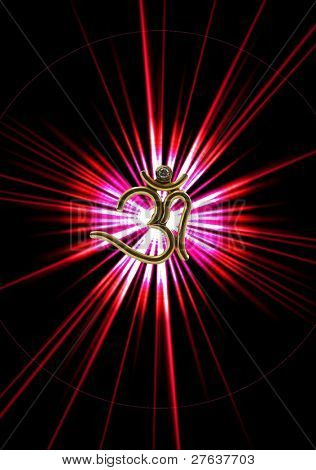 Golden OHM with diamond, symbol of the soundless sound and love peace and happiness,  shining