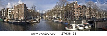 Panorama at Amsterdam innercity in the Netherlands