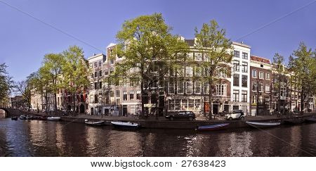 Panoramic view from Amsterdam innercity in the Netherlands