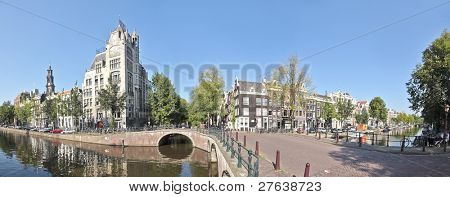 Panoramic view on Westerkerk in 'De Jordaan' Amsterdam Netherlands