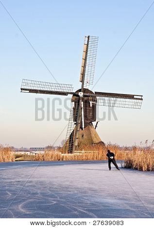 Windmill in wintertime in the Netherlands