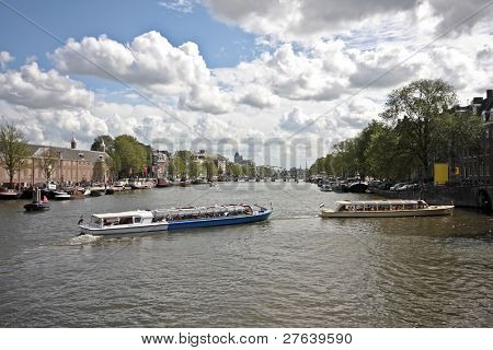 Amstel river in Amsterdam the Netherlands