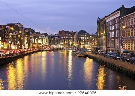 Amsterdam innercity in the Netherlands at night