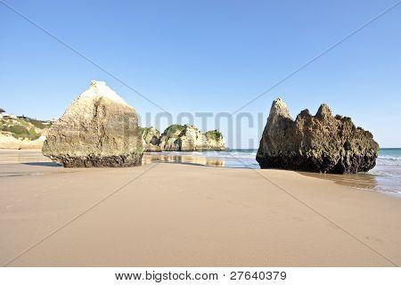 Natural rocks at Praia Tres Irmaos near Alvor in Portugal