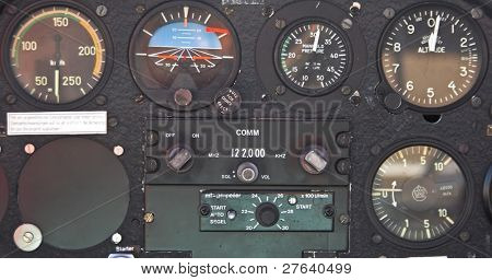 Old device in the pilot cockpit