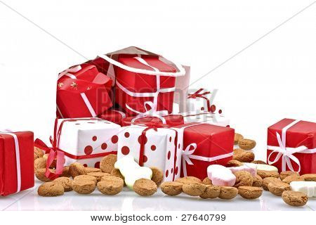 Bag full of christmas presents with gingernuts