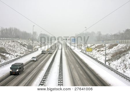 The famous A9 in a snowstorm in winter near Amsterdam the Netherlands