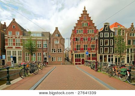 Old medieval facades in Amsterdam city center in the Netherlands