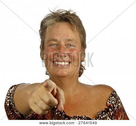 Middle aged woman pointing at you