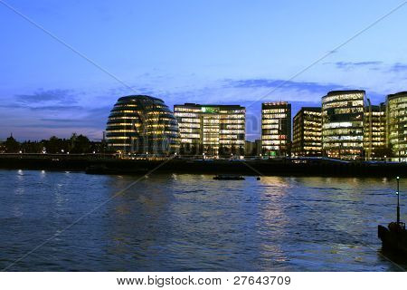 view from the Thames at night