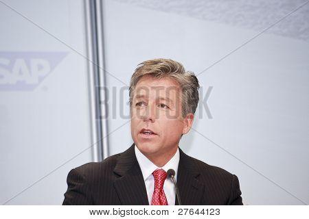 SAP AG CEO Bill McDermott speaks on public press event at CeBIT
