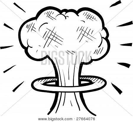 Mushroom cloud drawing