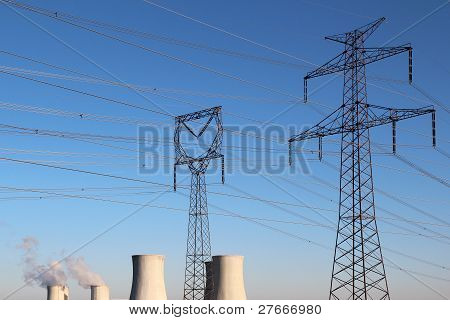 High Voltage Tower And Nuclear Power Plant
