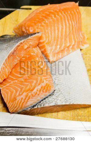 Fresh Raw Salmon On Wooden