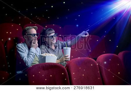 Lovely couple watching 3D movie