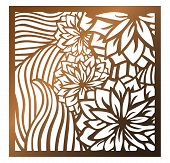 Laser Cutting Square Panel. Openwork Floral Pattern With Flowers And Leaves. Perfect For Silhouette  poster