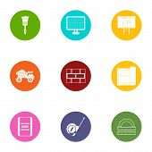 Construction Object Icons Set. Flat Set Of 9 Construction Object Icons For Web Isolated On White Bac poster