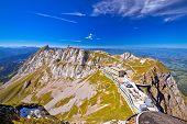 Pilatus Kulm Mountain Peak And Surrounding Alpine Peaks View, Alpine Peaks Of Switzerland poster