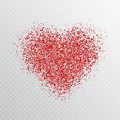 Glitter Red Heart Isolated On Transparent Background. Glowing Heart Banner With Star Dust. Magic Par poster