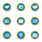 Business Publication Icons Set. Flat Set Of 9 Business Publication Icons For Web Isolated On White B poster